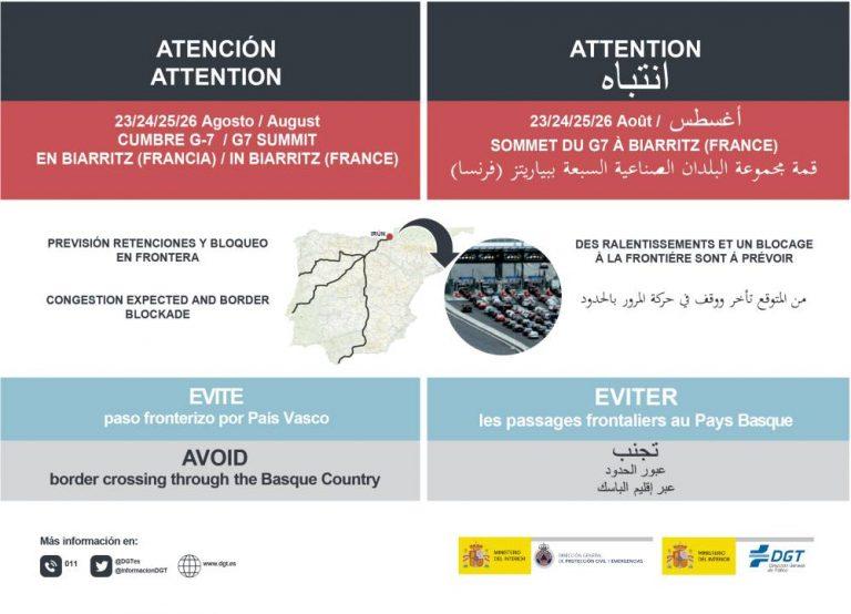 Evitar el paso fronterizo de Irún debido a la Cumbre Internacional del G-7